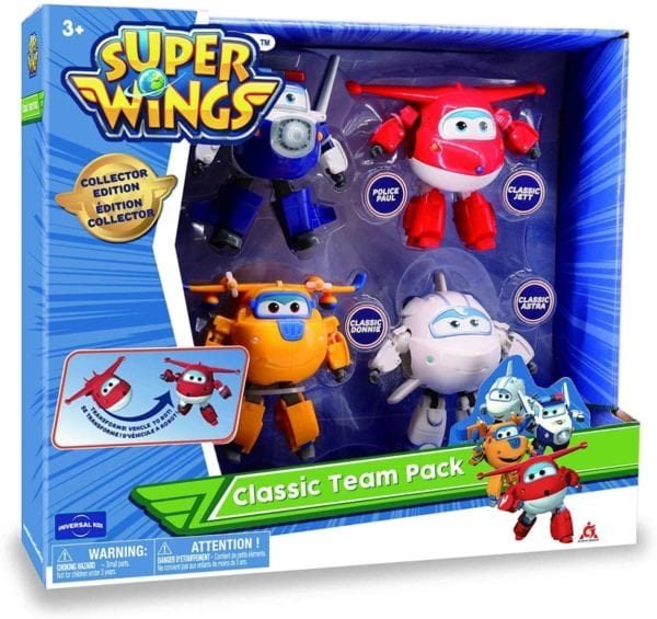 Super Wings – Transforming Characters Collector 4 Pack | Jett, Paul, Astra, & Donnie | 5'' Escala