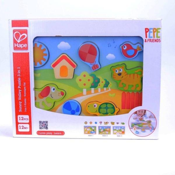 sunny valley puzzle 3 en 1 hape