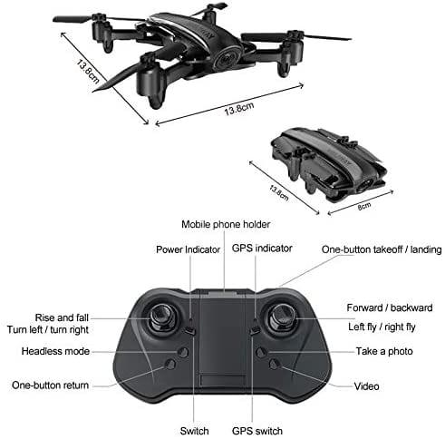 Dron RC plegable con cámara 1080P y control remoto